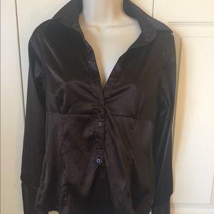 Zara silk satin chocolate brown button blouse